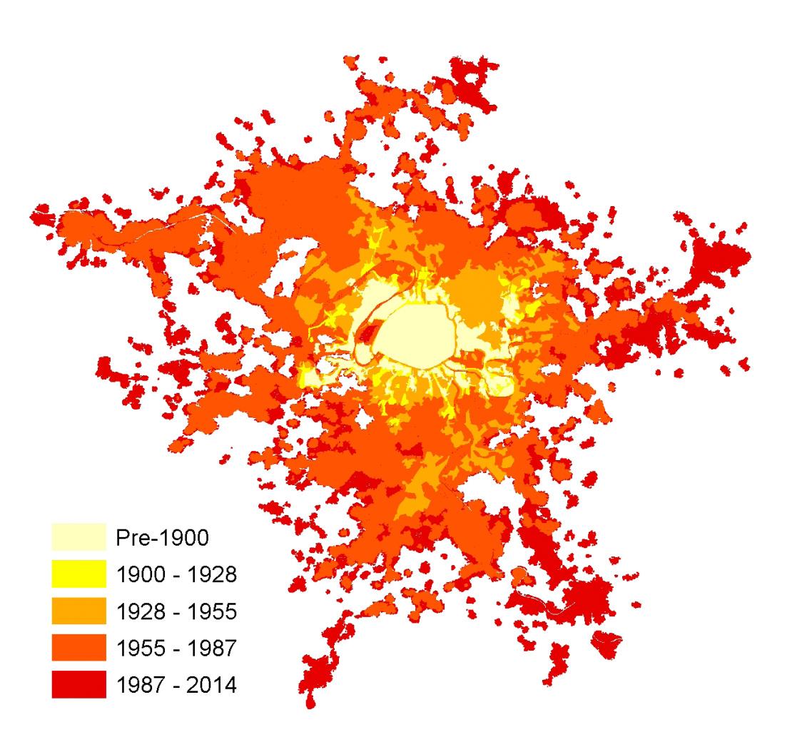Figura 1. La extensión de París y su evolución histórica